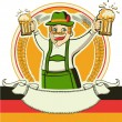 German man and glasses of beer.Vector oktoberfest estival symbol — Stock Vector