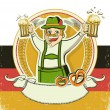 German man and beers.Vintage oktoberfest symbol on old paper te — Stock Vector