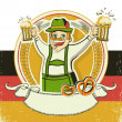 German man and beers.Vintage oktoberfest symbol on old paper te — Stock Vector #30208191