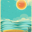 Vintage nature tropical seascape background with sunlight and pa — Stock Vector