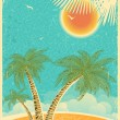 Vintage nature tropical island and sea background with sun and p — Stock Vector