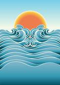 Deniz manzarası arka plan ile sunlight.vector renk illustra — Stok Vektör