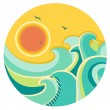 Vintage color seascape with sun on round symbol — Stock Vector