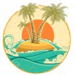 Stock Vector: VIntage tropical island.Vector symbol seascape with sun on old p