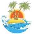 Stock Vector: Tropical island.Vector symbol seascape with sun isolated on whit