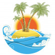 Tropical island.Vector symbol seascape with sun isolated on whit — Stock Vector