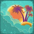 Vintage tropical island background with sun and dark clouds on o — Stock Vector