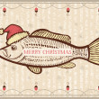Christmas fish in Santa red hat.Vintage drawing card on old text — Stock Vector #31954633