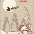 ストックベクタ: Fishing in Christmas night.Vintage winter image with Santa