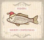 Christmas image of Fishing with fish in Santa hat .Vector drawi — Stock Vector