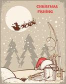 サンタとクリスマス night.vintage 冬のイメージでの釣り — ストックベクタ