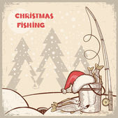 Successful fishing in Christmas holiday.Vector winter card backg — Stock Vector