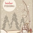 Fishing in Christmas night.Vintage winter image with Santa — Stock Vector