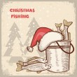 Christmas card.Drawing image of successful fishing on old backgr — Stock Vector