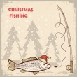 Christmas fishing card with fish in red Santa hat.Vector drawing — Stock Vector