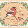 Stock Vector: Christmas vintage card with bullfinches and snow