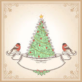 Vintage Christmas card with bullfinches.Vector illustration — Stockvektor