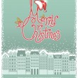 Vector Christmas card with cityscape background for text — Stock Vector