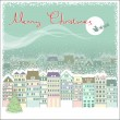 Christmas card background with cityscape and Santa in sky moon — Vector de stock
