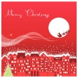 Red Christmas card with Santa in sky. — Stock Vector