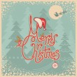 Retro Merry Christmas card with text.Vintage greeting illustrati — Stock Vector