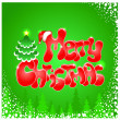 Red Christmas text on green background — Stock Vector