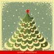 Vintage Christmas background with tree  — Stock Vector