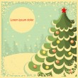 Vintage Christmas card with tree for text.Retro illustration — Stock Vector