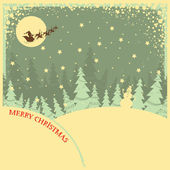 Vintage Christmas background with text on night landscape — Stock Vector