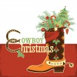 Cowboy christmas boot — Stock Vector