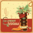 Cowboy christmas card with text and boot — Stock Vector