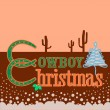 Cowboy Christmas card background with text — Stock Vector