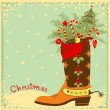 Cowboy boot with Christmas elements — Stock Vector