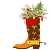 Cowboy boot with Christmas elements isolated on white — Stock Vector