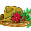 Christmas cowboy hat and holiday elements — Stock Vector