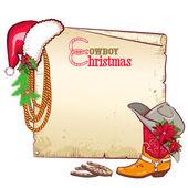 Kerstmis cowboy papier voor text.vector kaart achtergrond — Stockvector