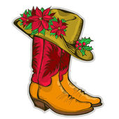 Christmas Cowboy boots and western hat with holiday decoration — Stock Vector