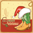 Stock Vector: Cowboy christmas card with american boots and Santa hat
