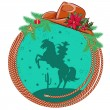 American cowboy Christmas background  — Stock Vector