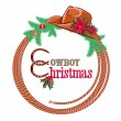 American cowboy Christmas background isolated on white — Stock Vector