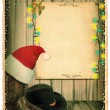 Cowboy Christmas background with Santa hat and antique paper for — Stock Photo