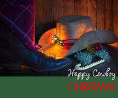Cowboy Christmas card with holiday decorations. — Stock Photo