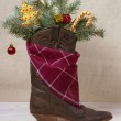 American West leather cowboy boot.Christmas image — Stock Photo