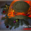 American cowboy hat with Christmas decoration — Stock Photo