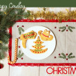 Cowboy Christmas card with cookies and holiday decorations — Stock Photo