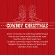 Stock Vector: American Red Christmas background with cowboy boots and text.