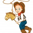 Stock Vector: Cowboy child with lasso and toy horse