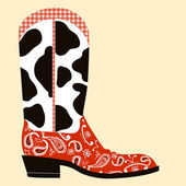 Bota de cowboy decoration.western símbolo — Vector de stock