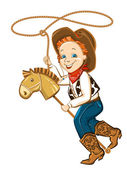Cowboy child with lasso and toy horse — Stock Vector