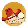 Cowboy little baby with big western sheriff hat — Stock Vector #40008607